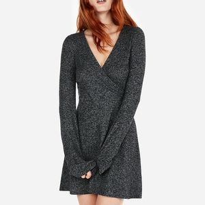 Cozy Plush Jersey Surplice Fit And Flare Dress XS